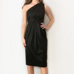Black Satin Dress Midi Pleated Maggy London